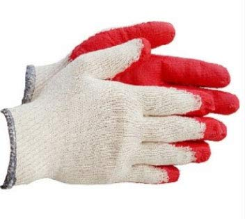 Safety Grip Protection Gloves Economical String Knit Latex Dipped Palm Gloves, Nitrile Coated Work Gloves for General Purpose, One Size, Red (Pack of 10)