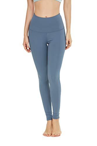 QUEENIEKE Yoga Hosen Damen-hohe Taillen Yoga Leggings mit Tasche Trainings Strumpfhosen für Laufen Fitness(Blauer Himmel, L)