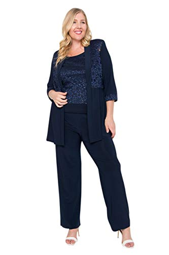 R&M Richards Mother of The Bride Formal Pants Suit Plus - Navy - 14W