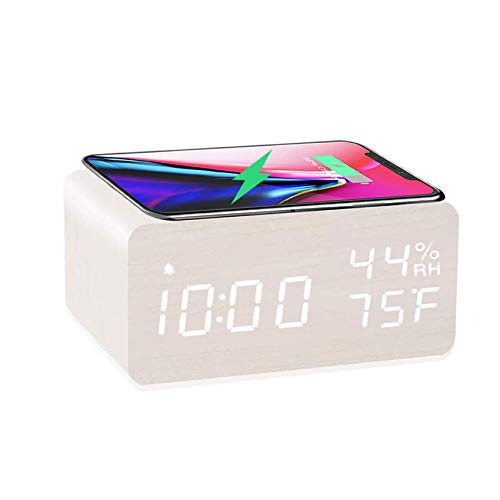 Wooden Digital Alarm Clock with Wireless Charging, 3 Alarms LED Display, Sound Control and Snooze Dual for Bedroom, Bedside, Desk, Office, White