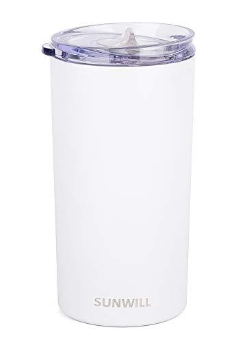 SUNWILL Double Wall Coffee Cup Insulated Coffee Mug Stainless Steel Slim Travel Tumbler Mini 12oz White