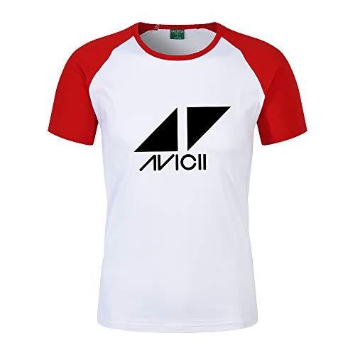 DJ Avicii Camiseta Camiseta de Manga Corta de Color sólido de Verano Camiseta de Manga Corta con Cuello Redondo Camiseta Personalizada de Class (Color : Red01, Size : L)