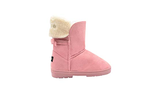 bebe Girls' Big Kid Slip On Mid Calf Warm Microsuede Winter Boots Embellished with Rhinestones and Faux Fur Cuff Blush Size 1