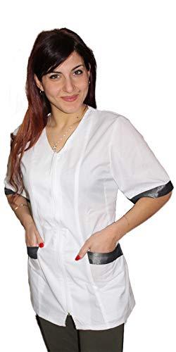 Petersabitidalavoro Camice da Lavoro Giromanica Donna,con Zip,Estetista,Parrucchiera,Alimentari,Bianco,Cotone,Made in Italy