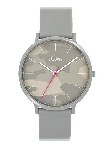s.Oliver Unisex Analog Quarz Uhr mit Silicone Armband SO-4073-PQ