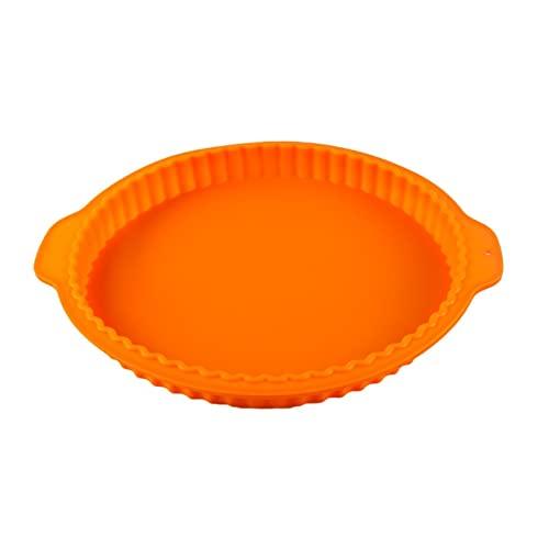 Molde de silicona Pizza de 10 pulgadas borde de onda redondo de silicona molde de hornear para hornear galletas Pan de pastelería Paja Pizza Pie Toast Molde de chocolate Qf shop ( Color : Orange )