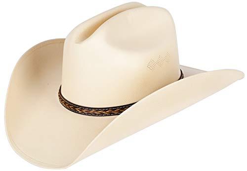 Queue Essentials Faux Felt Western Style Pinch Front Straw Canvas Cowboy Cowgirl Straw Hat (Large/X-Large, C)