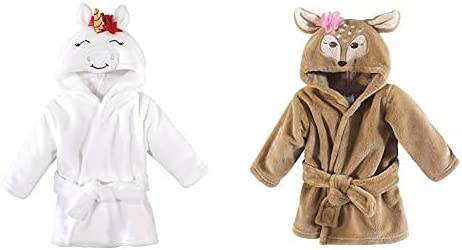 Hudson Baby Girl Plush Animal Face Bathrobe 2-Pack, Christmas Unicorn Fawn