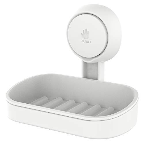 Amazon Brand – Eono Seifenschalehalter mit Saugnapf Seifenschale ohne Bohren Bad Seifenhalter Wandmontage Seifenschale Dusche Saugnapf, Abnehmbar Seifenkorb für Badezimmer Küche -Kunststoff in Weiß