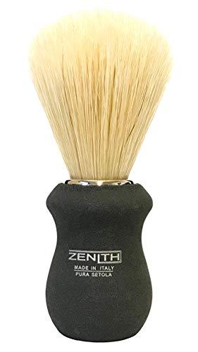 Pennello da Barba Zẹnith Modello New Titanio Impugnatura In Legno Effetto Titanio E Setola Pura Sbiancata