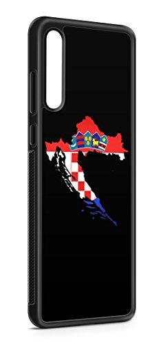 Kompatibel mit Samsung Galaxy A70 Silikon Handyhülle Flexibles Slim Case Cover Kroatien Fahne Flagge Schwarz
