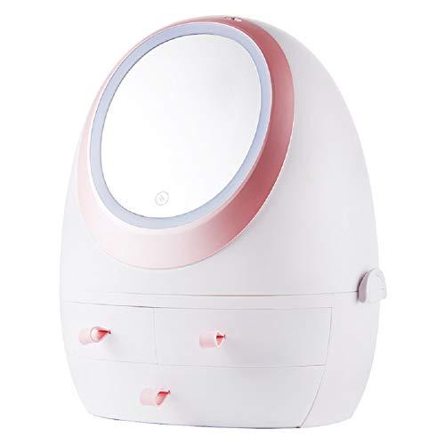 Make-up Spiegelbox Mehrzweck tragbare Aufbewahrungstasche, Aufladen für längere Nutzung, von oben nach unten getrennt, hohe Kapazität