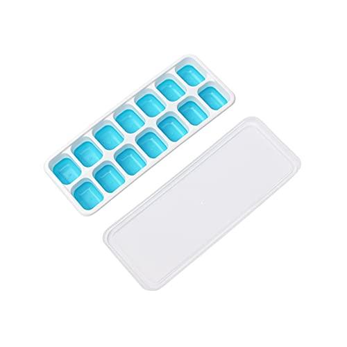 Bandejas de cubitos de hielo Silicona de liberación fácil y fabricante de cubos de hielo flexible con tapa extraíble resistente a los derrames (Color : Blue)