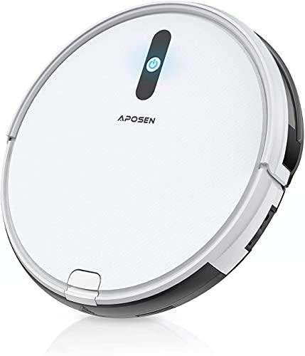 APOSEN ロボット掃除機 A450 6.8cm超薄い 軽量 リモコン対応 自動充電 多重濾過システム ロボット型クリーナー ホワイト