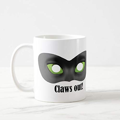 Funny Coffee Mug, Claws Out! - Cat Noir Mask Coffee Mug, 11 Oz Coffee Mug Tea Or Coffee Mug, Novelty Coffee Mug Gifts For Women Men