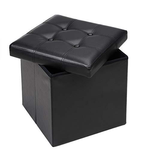 Deuba Sitzhocker mit Stauraum & Deckel Faltbar 40 L Schwarz Kunstleder 38x38x38cm Gepolstert Sitztruhe Truhe Fußhocker