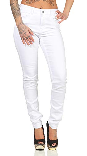 VERO MODA Damen Jeans Hose Seven Shape Up schmales Bein 10193356 Bright White Skinny XL/32