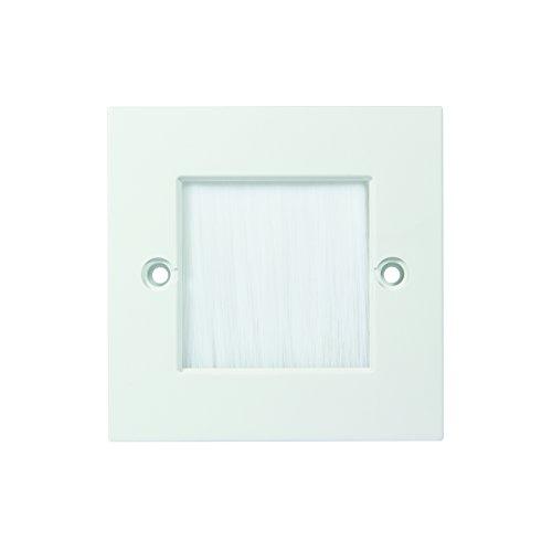 LogiLink Professional CA1070W Wandabdeckung für Kabelausgang oder Eingang, 86x86 mm mit Schutzbürste, Weiß, 86x86