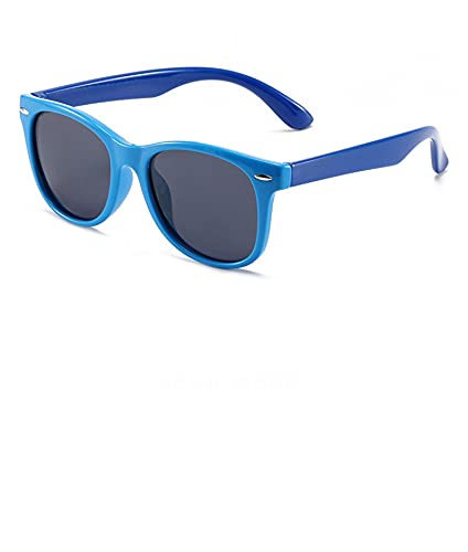 JINZUN Gafas de Sol de Silicona Gafas de Sol para niños Gafas Anti-UV de Dibujos Animados de Moda Marco Azul Claro Patas Azules
