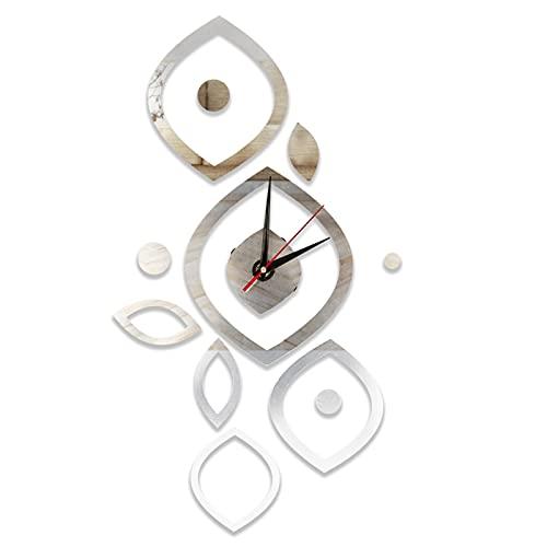 SALALIS Reloj con Pegatina de Espejo, Superficie Reflectante, Pegatina de Reloj de Pared de Alta viscosidad, no se Cae fácilmente, Brillante para Decorar baños(Plata)