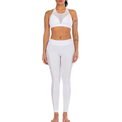 GFDHGT 2Pcs Yoga Set Women Gym Women Yoga Clothing Set Perspectiva Patchwork Yoga Vest Sports Fitness Set Elastic Tops + Pants, Blanco, M