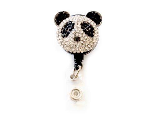 New Custom Bling Shimmering Rhinestone 3D Panda Bear Badge Reel Retractable ID Badge Holder Pull Reel (A: Black Backing)
