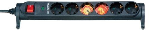 Vivanco 6-fach Steckdosenleiste mit Überspannungsschutz, Schalter und Kindersicherung, drehbar, TÜV und GS geprüft, Wandmontage möglich, schwarz