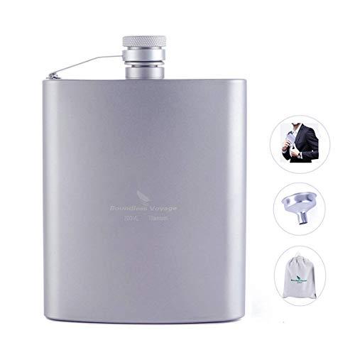 Flachmann - ZYVoyage Titan Flasche mit Trichter Mini Tasche Tragbare Flagon 7oz Outdoor Camping im Freien Wandern Alkohol Whisky Weinflasche