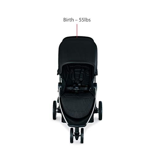 Britax B-Lively Lightweight Stroller, Raven One Hand, Easy Fold + Infinite Recline + Front Access Storage + Peekaboo Window