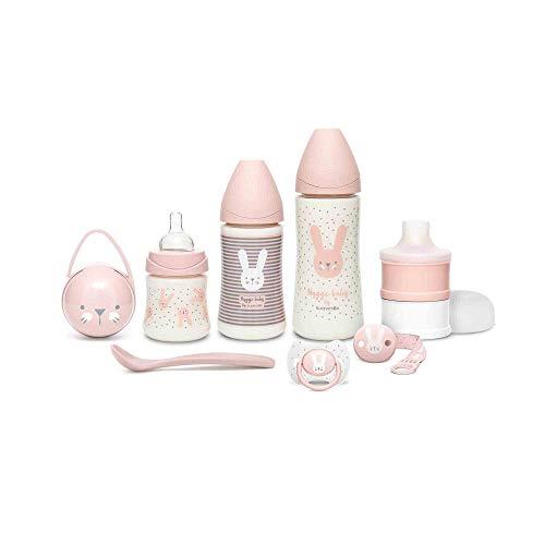 Suavinex Set Premium Recién Nacido con Biberón 150ml, 270ml y 360ml, Dosificador de leche, Chupete fisiológico -2-4 meses, Broche cinta y Cuchara, Rosa