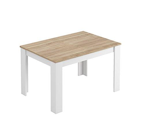 Loungitude - Table à manger extensible L140/190 cm - Blanc/chêne