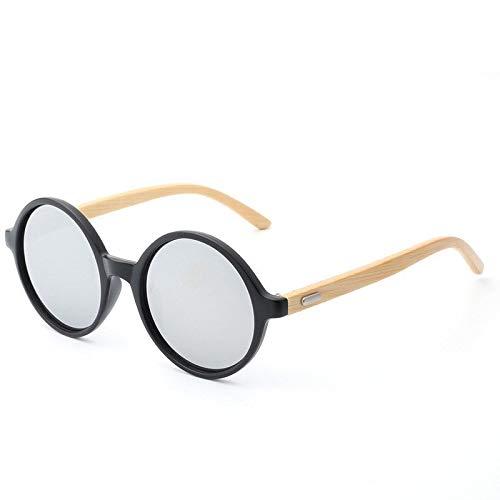 Gafas de Sol Gafas De Sol Redondas De Bambú con Montura Redonda Y Patas De Madera protección para los Ojos (Color : D)