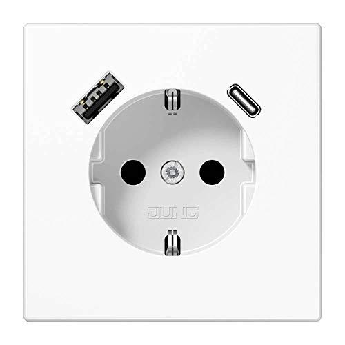 Jung LS1520-15CAWW SCHUKO-Steckdose mit USB Typ AC (3A) Quick Charge mit erhöhtem Berührungsschutz (Thermoplast bruchsicher) Alpinweiß Serie LS