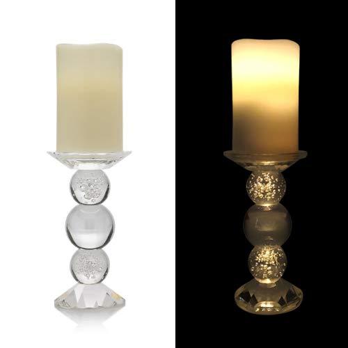 Online-Fuchs LED Echtwachskerze mit Timer und Kerzenständer aus Kristallglas - Kerzenhalter - Wahlweise Warmweiß oder RGB Farbwechsel (Creme)