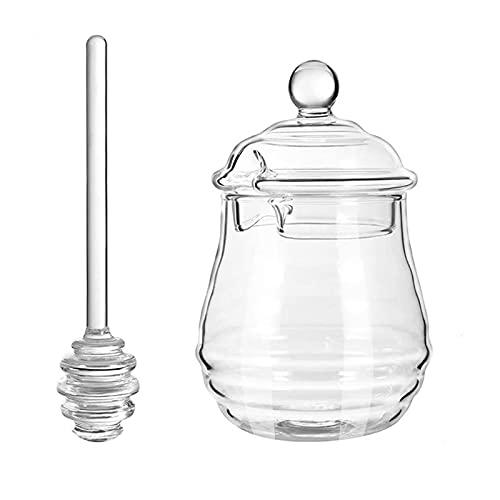 Tarra de miel de cristal transparente, frasco de miel creativo de gran capacidad con barra de agitación y tapa, adecuado para almacenar jarra de miel de jarabe en la cocina casera o banquete de bodas