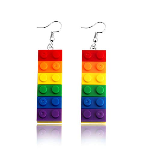 Gay Pride Rainbow Dangle Earrings Gay & Lesbian LGBT Pride Gifts Rainbow Jewelry (Gay Pride Earrings)