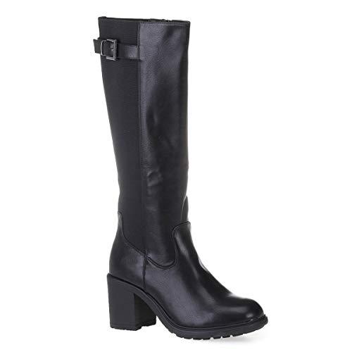 La Modeuse - Botas de piel sintética con talón cuadrado y punta redonda, Negro (Negro ), 39 EU