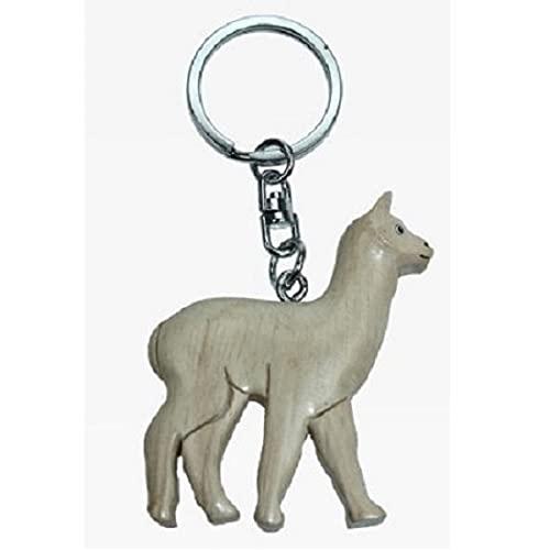Lama Alpaca Alpaca Porte-clés Blanc * en bois