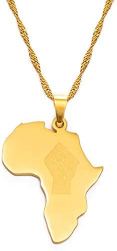 quanjiafu Collar Mapa De África con Collares con Colgante De Puño Mujeres Hombres Black Lives Matter Joyería Africana 60Cm Collar