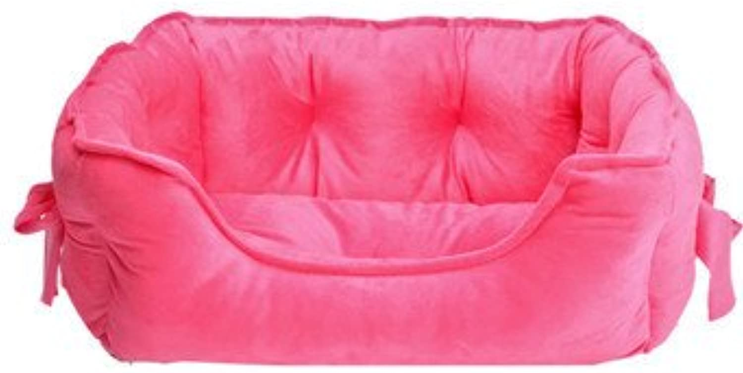 Cute pet nest, cat Litter, Bow Dog Sofa, Cotton Dog Bed (color   pink red, Size   S)