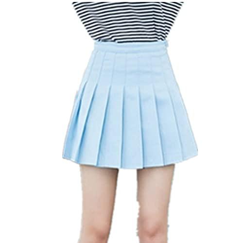 Women Girl High Waisted Pleated Skater Tennis School Uniform Skirt Lining Short Blue