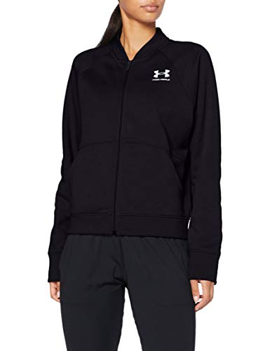 Under Armour Rival Fleece Jacket Sudadera cálida, Mujer, Negro/Blanco (001), Small