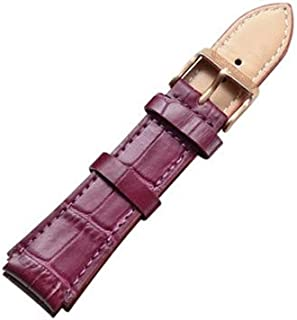 Songlin@yuan  Simple and Stylish with Silver Buckle Leather Strap, Width: 18 mm Fashion (Color : Purple)