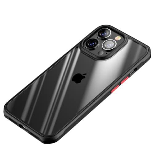 LJFLI iPhone 13 Pro Max caso Trasparente PC soft edge cover protettiva, Nero, iPhone13