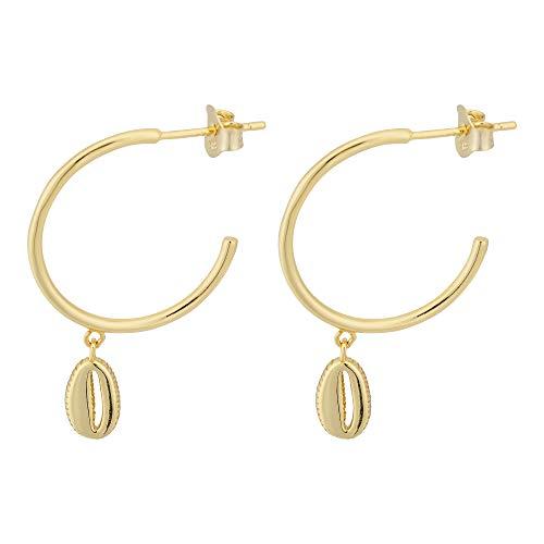 Brandlinger ® Atelier Creolen mit Muschel Anhänger aus vergoldetem 925 Sterling Silber. Ohrringe Gold mit Durchmesser 20 mm
