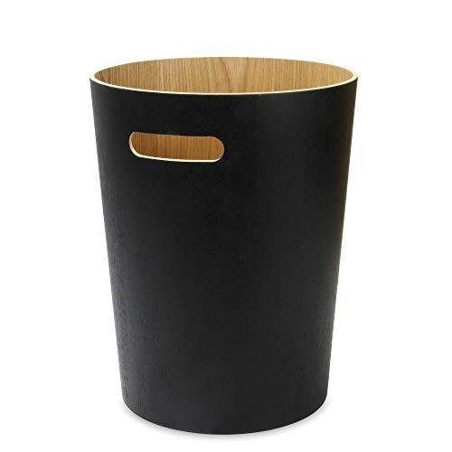 Papierkorb aus Holz | Büro & Schlafzimmer Papierkörbe |Papierkorb Für Unter Schreibtisch | Wohnzimmer Mülleimer | M&W (Schwarz)