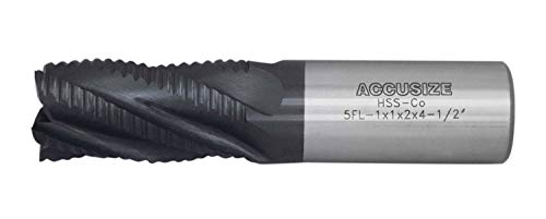 Accusize Industrial Tools 1'' Dia, M42 8% Cobalt Tialn Roughing End Mill, Coarse Tooth, 1'' Shk Dia, 2'' Flt Length, 4-1/2'' Oal, 5 Flute, 1102-0001