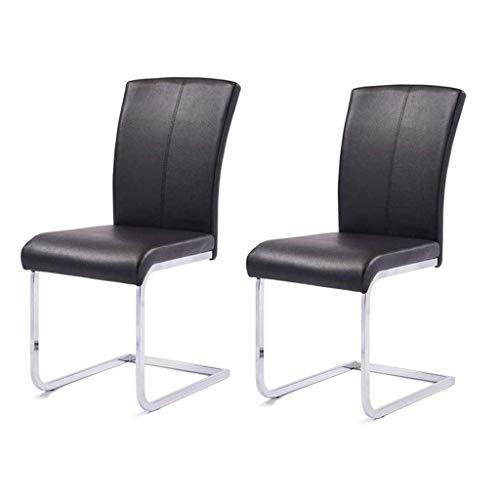Silla de escritorio de oficina, silla de hierro de cuero, moderna y minimalista, sin apoyabrazos, silla de comedor con respaldo nórdico (color negro)