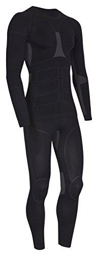 icefeld®: Sport- / Ski- Thermounterwäsche-Set für Herren Seamless (nahtfrei) in schwarz/grau L