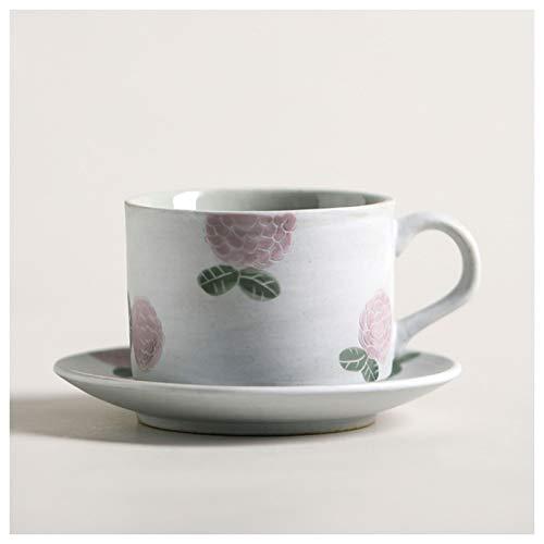 Taza de café Patrón pintado a mano Taza de cerámica Taza de patrón y platillo conjunto Retro Cafetería Copa Japonesa Simple Style Home Tarde Tea Adecuado para varios lugares 200ml Taza de té